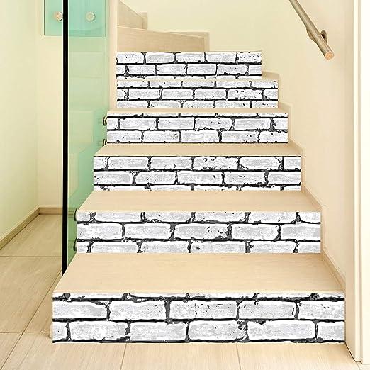 ZOOMY 6Piezas / Set 3D Ladrillo Escalera Escalera Subida Etiqueta del Piso Escalera autoadhesiva Impermeable PVC Tatuajes de Pared Decoración para el hogar - Ladrillo: Amazon.es: Hogar
