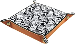 Anime Halloween Black & White Pattern 2-01 for Jewlery Key Cosmetics Glasses Headphone Wallet-Office/Home Use Catch All Tray
