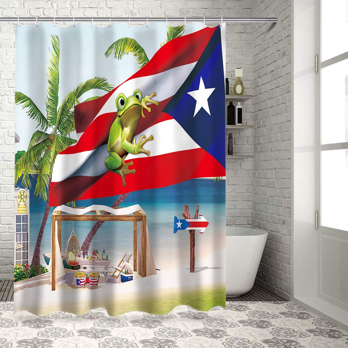 Z&L Home Coastal Beach Time Shower Curtains for Bathroom Decor Puerto Rico Flag and Frog Polyester Fabric Waterproof Bath Curtain Set with Hooks 36×72Inch