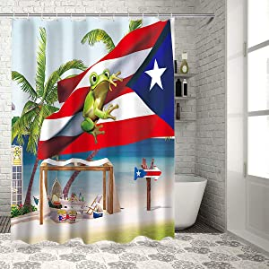 Z&L Home Coastal Beach Time Shower Curtains for Bathroom Decor Puerto Rico Flag and Frog Polyester Fabric Waterproof Bath Curtain Set with Hooks 72×72Inch