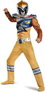 Power Rangers Muscle Costume For Boys Gold Dino Charge Classic Kids Beast Morphers Ninja Dinosaur Gold Ranger For Kids Small 4-6