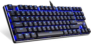 EagleTec KG060-BR LED Blue Backlit Mechanical Gaming Keyboard Low Profile Mechanical Gamers Keyboard 87 Key Metal Mechanical Computer USB Gaming Keyboard for PC Quiet Cherry Brown Switches (Black)