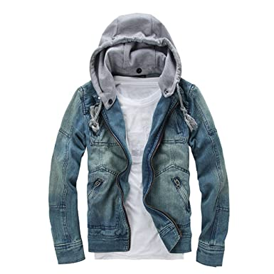 East Castle Men S Fashion Hooded Long Sleeve Washed Denim Jackets M