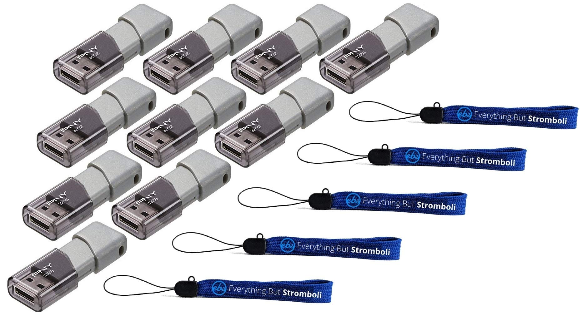 PNY 32GB USB 3.0 Flash Drive Elite Turbo Attache 3 (Ten Pack Bundle) Plus (5) Everything But Stromboli (TM) Lanyard (P-FD32GTBOP-GE)