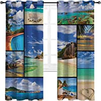 Homesonne Black Out Curtains Collage of Tropic Summer Sandy Beach Tranquil Peaceful...