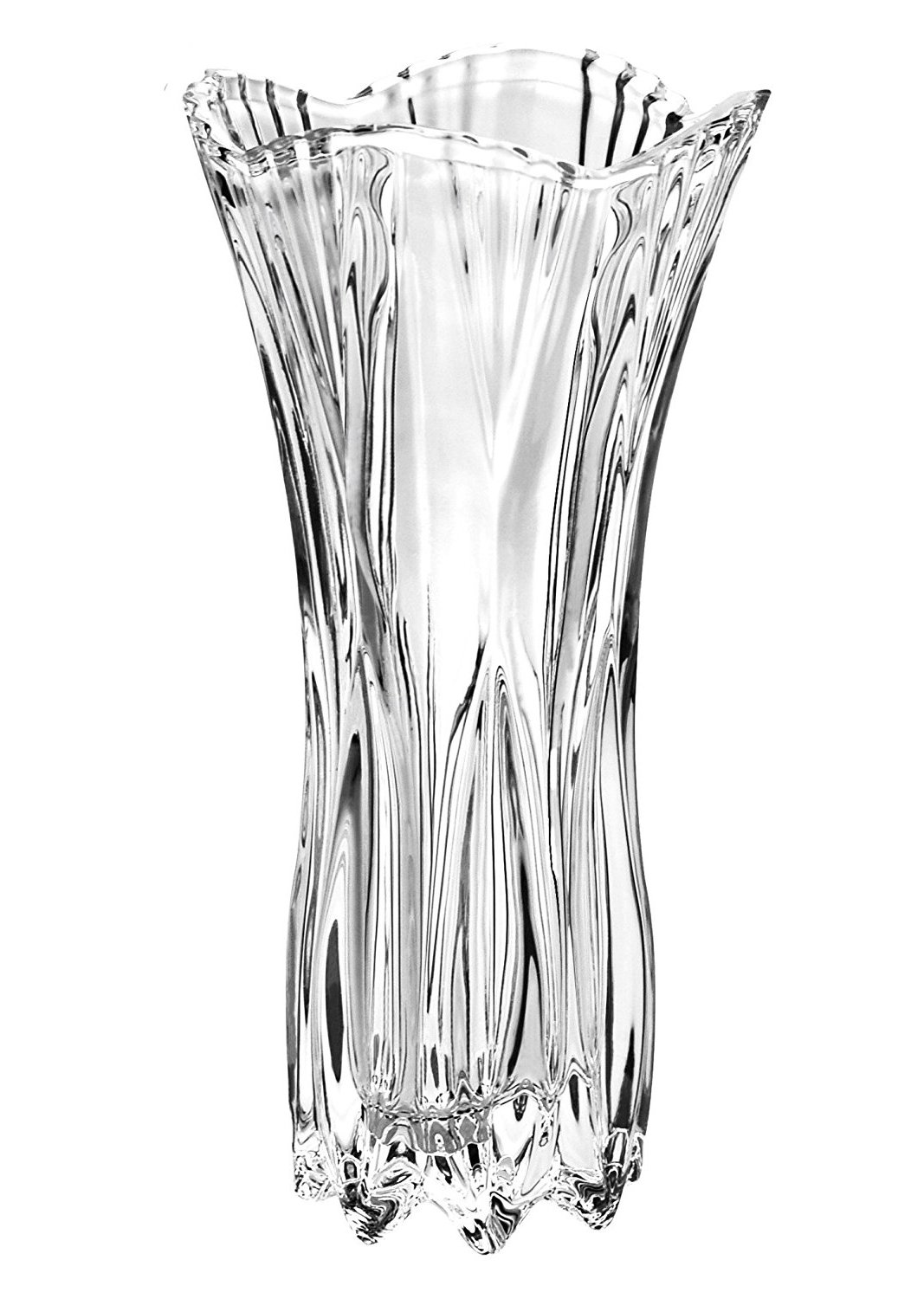 Crystal flower vase - 29 cm Large Decorative Tall Flower Vase / Glass Flower Vase by Kurtzy - Crystal Vases for Flowers - 15.5cm Diameter for Assorted Bunches of Flowers - Crystal Clear Glass MA-3691