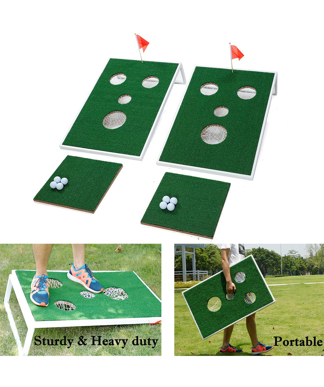 SPRAWL Chipping Golf Cornhole Game Set - Two Boards,Two Chipping Mats,Eight Golf Balls - Portable for Backyard, Beach, Office