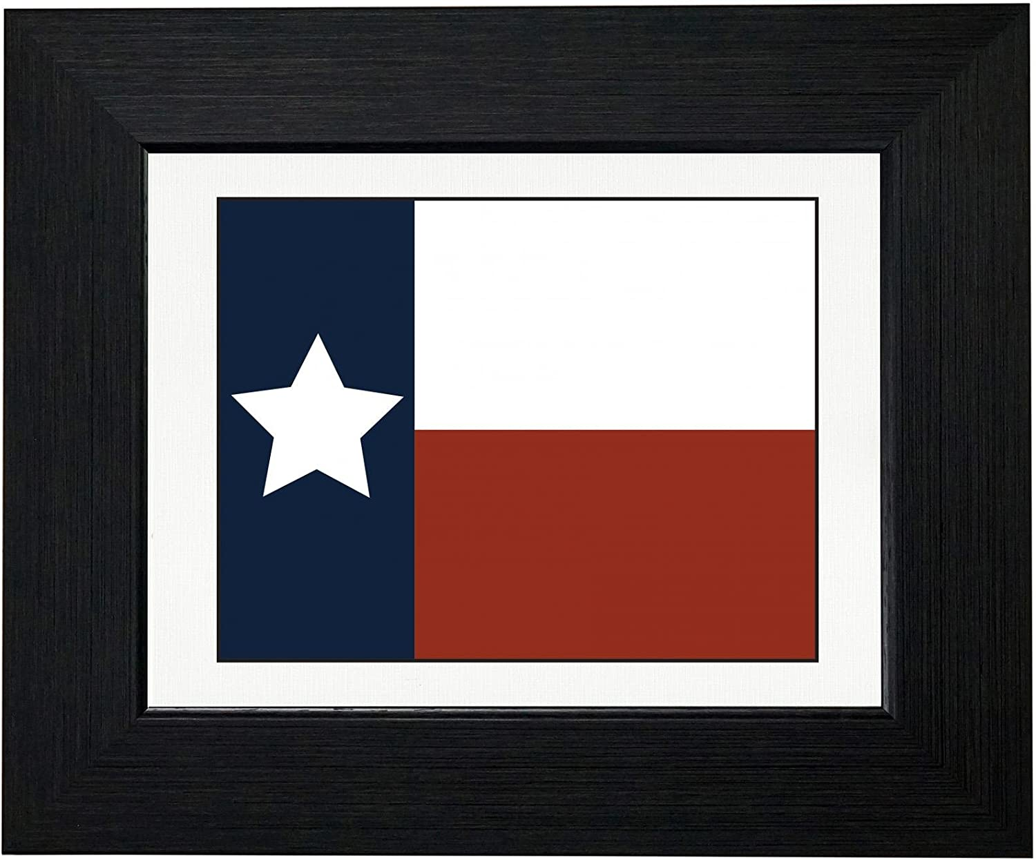 Royal Prints Simple Colorful Texas State Flag and Colors Framed Print Poster Wall or Desk Mount Options