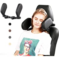 Car Headrest Pillow, Buluby Upgraded U Shaped Travel Vehicle Seat Head Support 3rd Generation (Black)