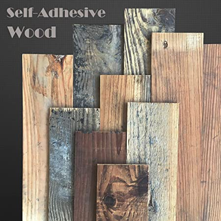 DIY Easy Peel and Stick Wood Wall Reclaimed Weathered Redwood Weekend Walls