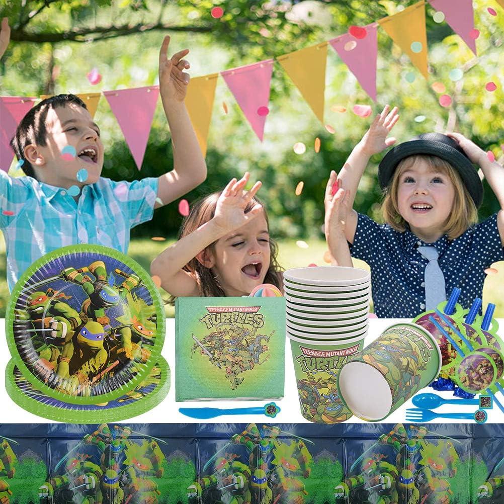 87 Pack Ninja Turtles Suministros de fiesta ZSWQ-Happy Birthday Ninja Turtles Party Supplies,Shower Decoraci/ón,Fiesta de Bienvenida Ni/ño Bandera Blowouts Servilletas