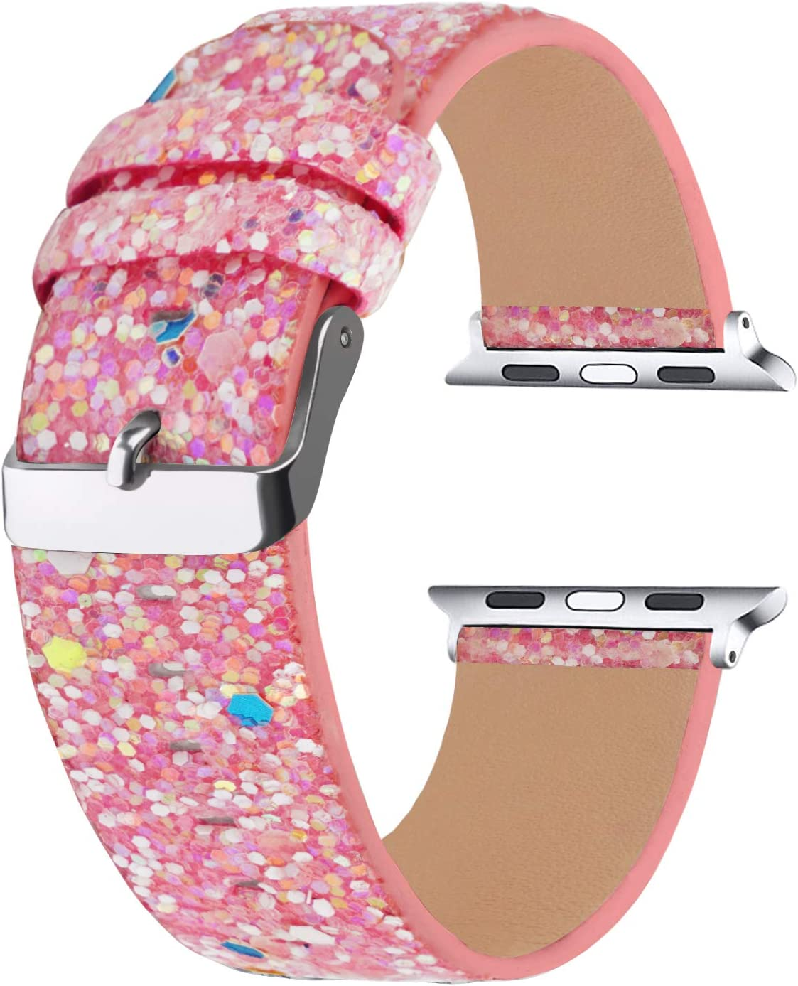 Moonooda Sparkle Watch Band Compatible with Apple Watch Band 42mm 44mm,Women Wristband Replacement for iWatch, Bling Glitter Strap Smartwatch Band Compatible with Series SE 6 5 4 3 2 1, Luminous Pink