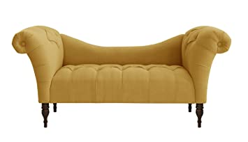Amazing Skyline Furniture Tufted Chaise Lounge In Linen French Yellow