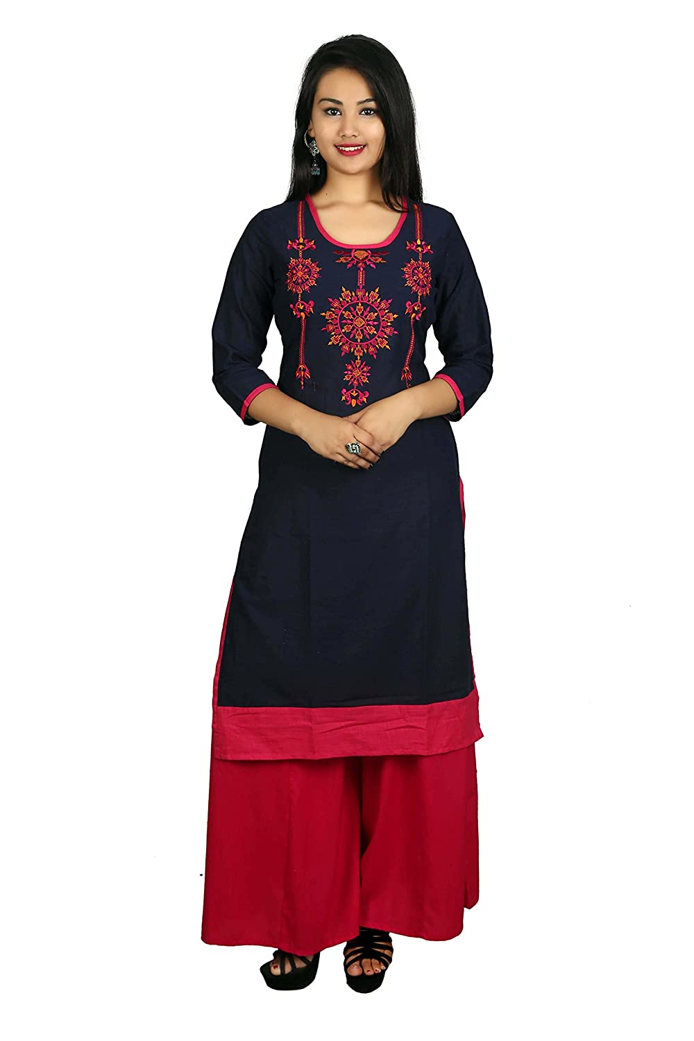 Blue Embroidered 3/4 Sleeve Cotton Women's Kurta and Palazzo Set Indian Handicrfats Export D9-Blue-Red-M