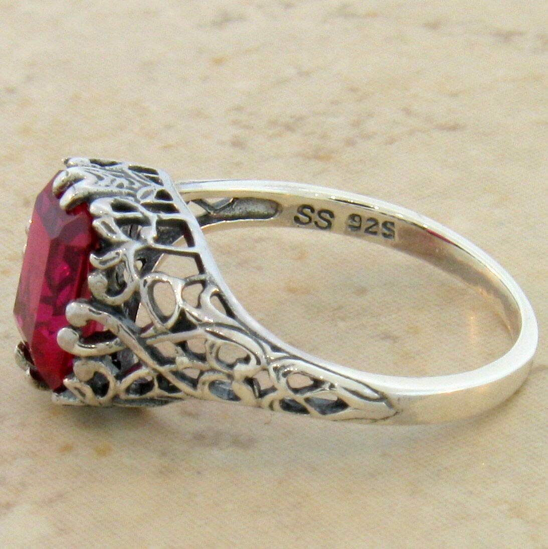 Antique Filigree Design .925 Sterling Silver RED LAB Ruby Ring Size 6.75 KN-4466