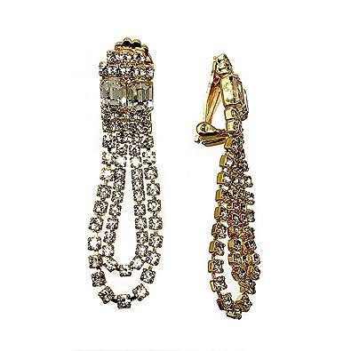 dd12f66dd8cc Pendientes largos bisutería metal dorados 56mm. piedras  AB5060    Amazon.es  Joyería