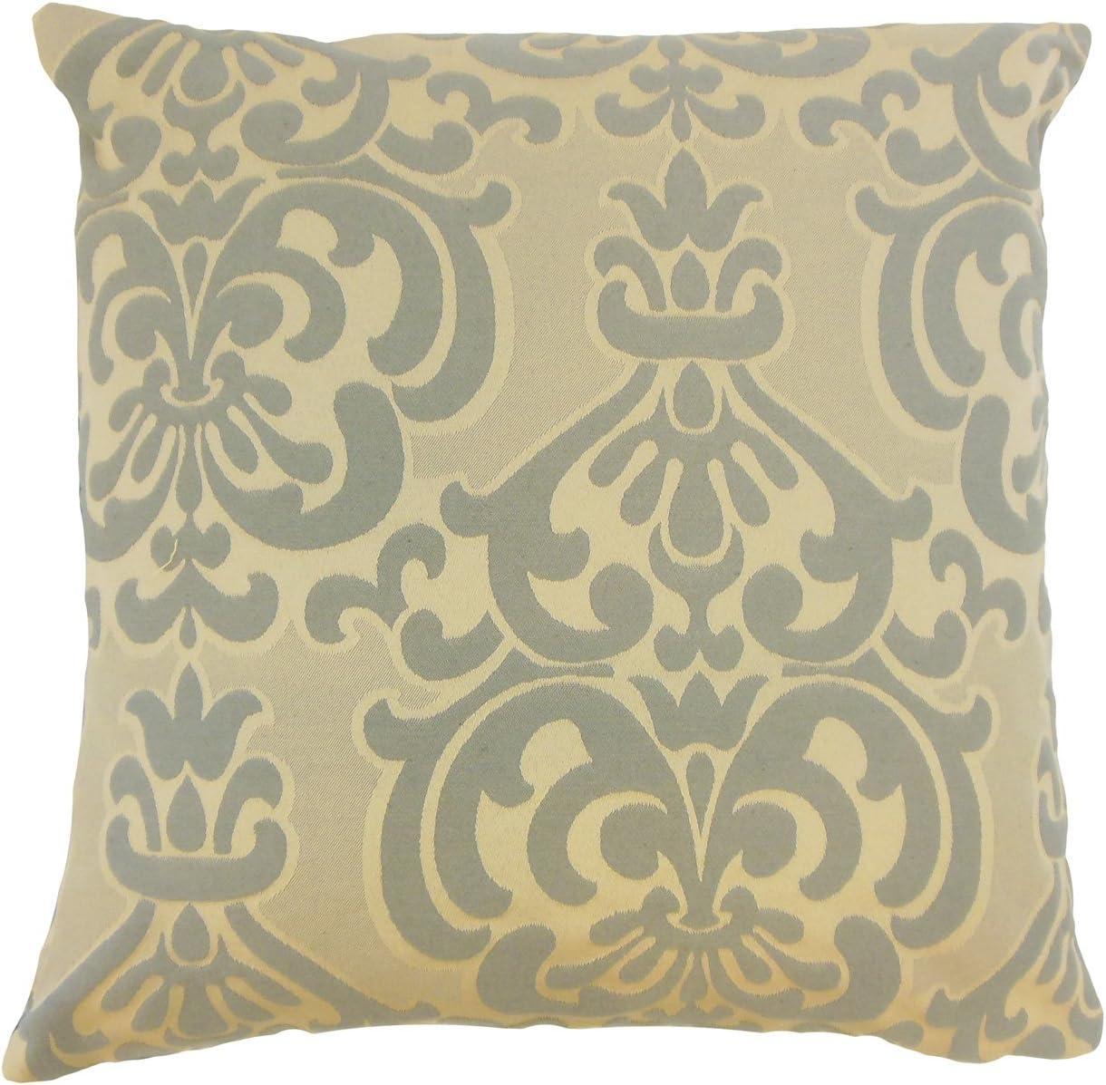 The Pillow Collection Sarane Damask Bedding Sham Truffle Queen//20 x 30