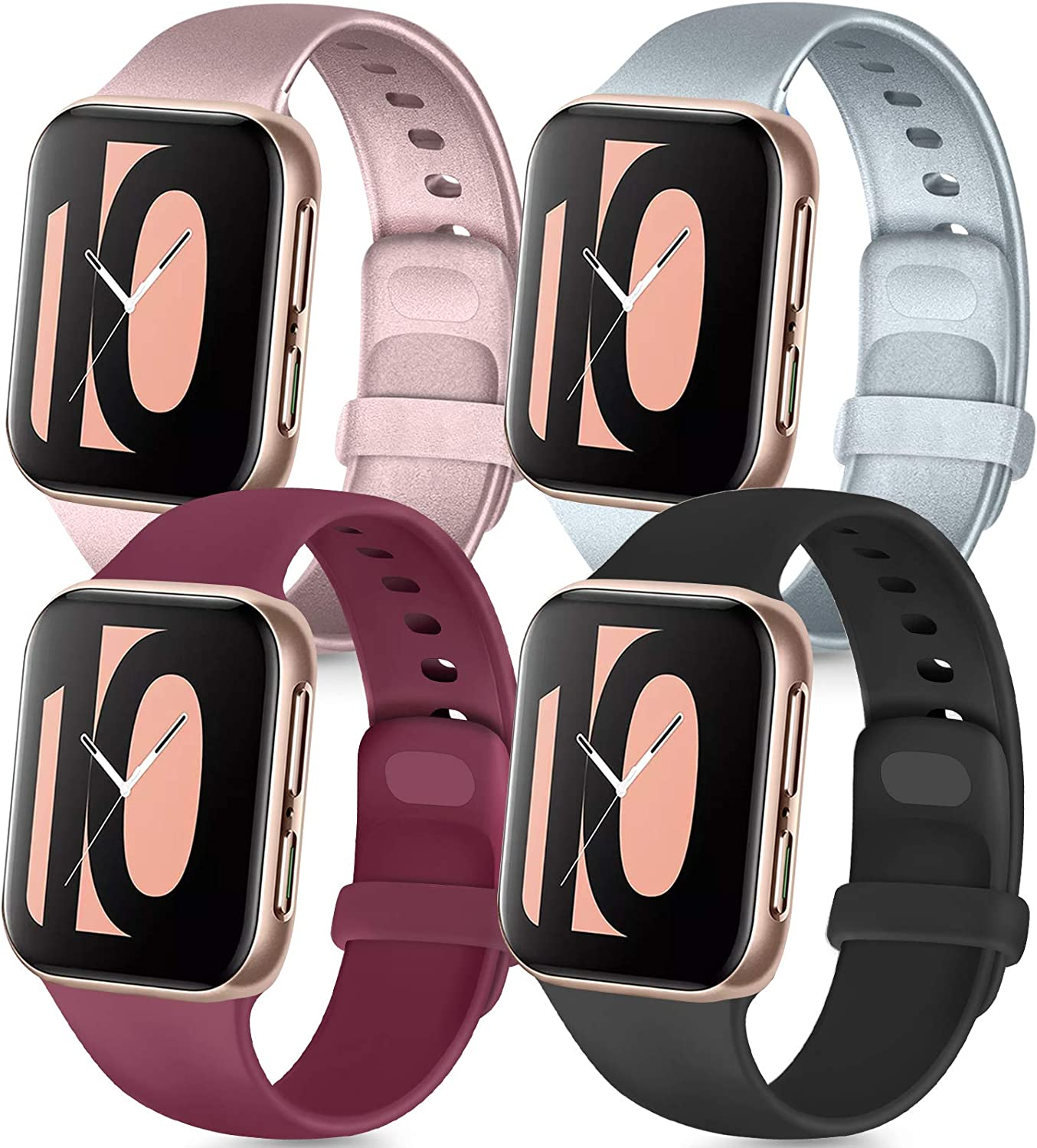 Tobfit 4 Pack Compatible with Apple Watch Band 38mm 42mm 40mm 44mm, Soft Silicone Replacement Band Compatible with iWatch Series 6 5 4 3 SE (Black/Rose Gold/Silver/Wine red, 42mm/44mm S/M)