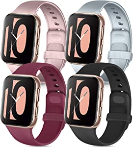 Tobfit 4 Pack Compatible with Apple Watch Band 38mm 42mm 40mm 44mm, Soft Silicone Replacement Band Compatible with iWatch Series 6 5 4 3 SE (Black/Rose Gold/Silver/Wine red, 38mm/40mm S/M)