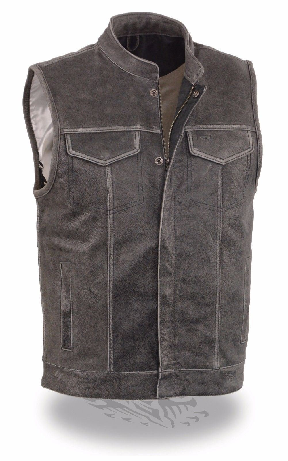 MEN'S DISTRESSED GREY MOTORCYCLE SON OF ANARCHY STYLE LEATHER VEST W/GUN POCKETS (L Regular)