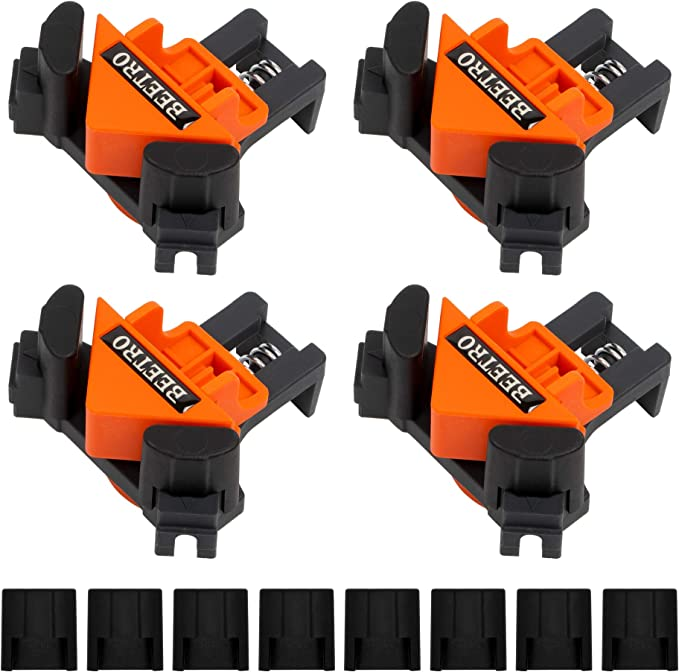 Making Cabinets Drilling Wood-Working Woodworking Clamps Multifunctional Single Handle Spring Loaded Swing Clip Fixer Welding Clamps for Welding Leadrise 4PCS 90 Degree Corner Clamp