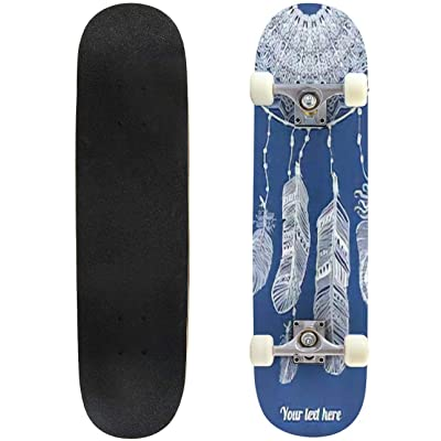 Classic Concave Skateboard Abstract Dream Catcher Vector Illustration Vintage Style Greeting Longboard Maple Deck Extreme Sports and Outdoors Double Kick Trick for Beginners and Professionals : Sports & Outdoors