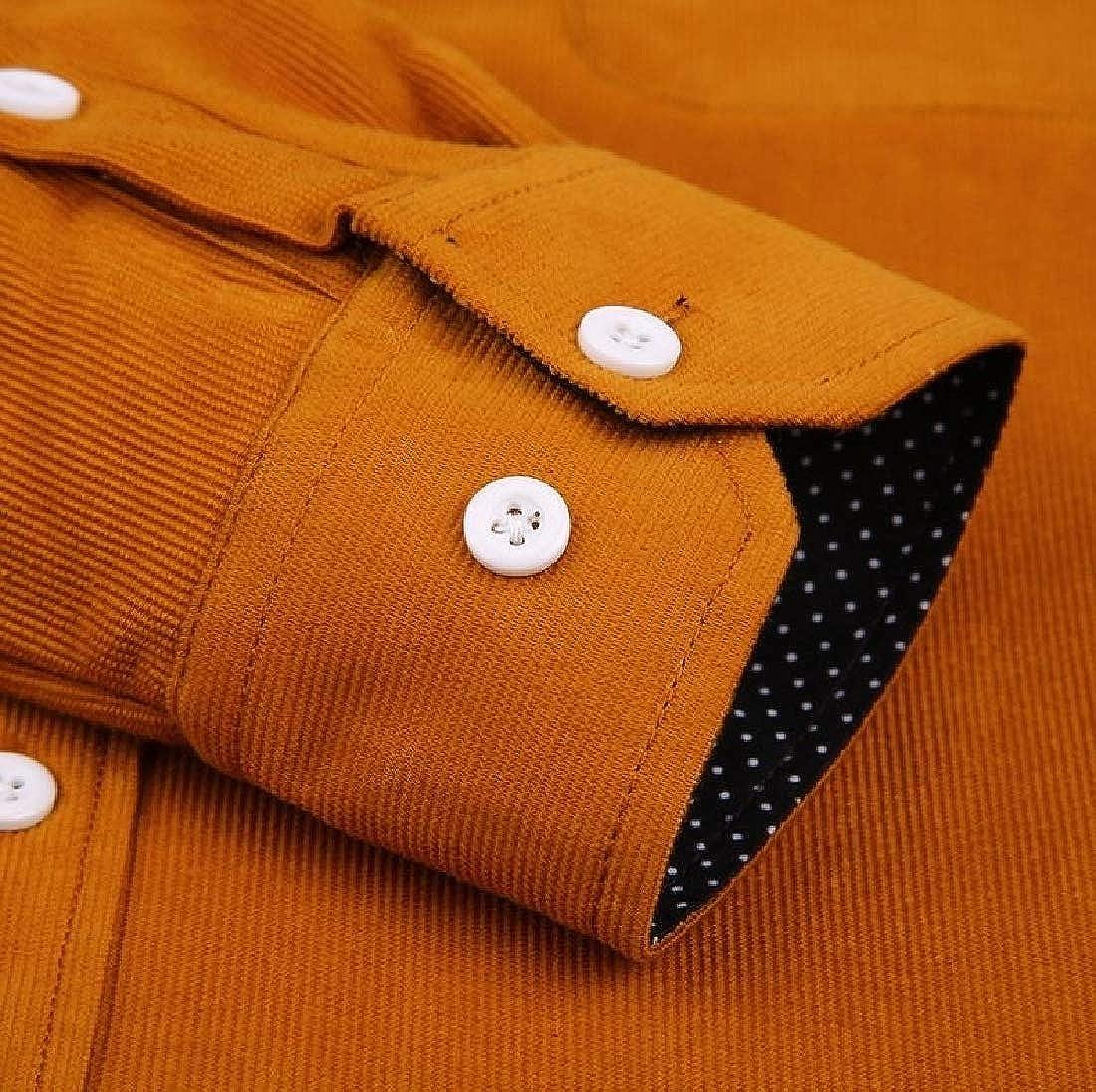 Aooword Mens Button-Down-Shirts Corduroy Big and Tall Woven Dress Shirts