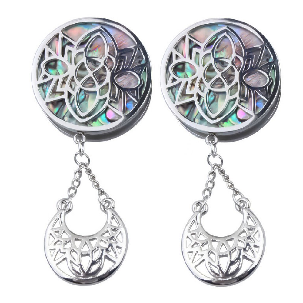 Ear gauges Ear Plugs Dangle Silver Stainless Steel Stencil Face Abalone W/Crescent (22MM-7/8 INCH)