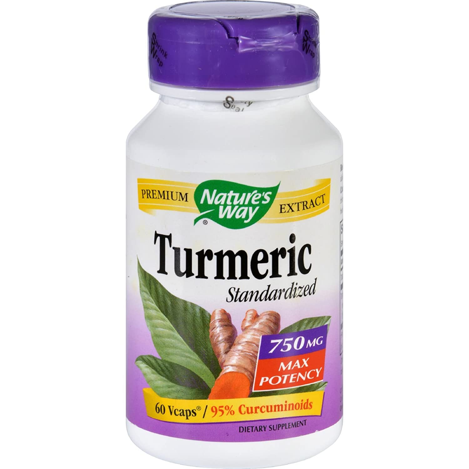 Nature s Way Turmeric – Maximum Potency – 750 mg – 60 Vegetarian Capsules