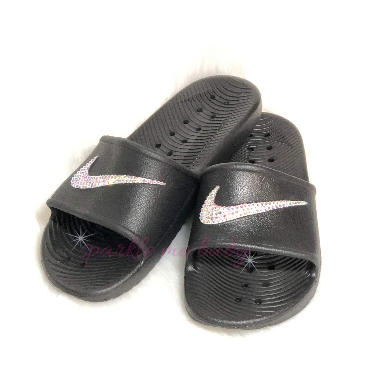 a1e365ebd Amazon.com  Swarovski Black Nike Kawa Slides for Women - Bling for the gym  - Customized by SparkleMeBaby2u  Handmade