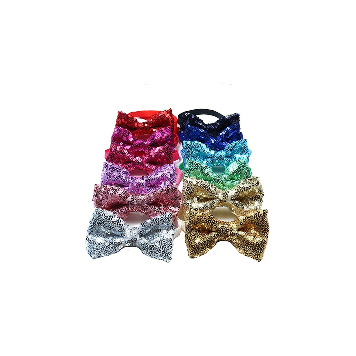 60PCS Pet Dog Cat Puppy Bow Ties Adjustable Shinning Sequins Bowknot Dog Bowties Dog Grooming Bows Dog Accessories Pet Supplies,Mixed Colors,M
