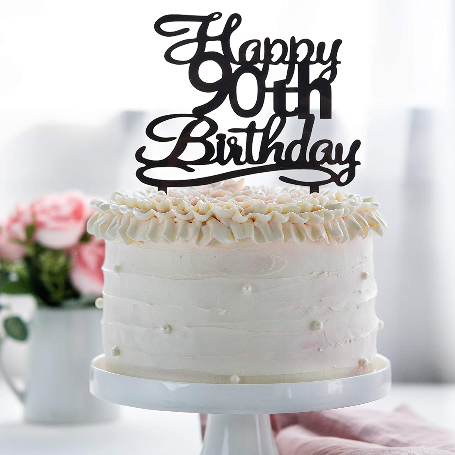 Waway Happy 90TH Birthday Acrylic Cake Topper For 90 Years Old Party Decoration Supplies Black Amazonau Home