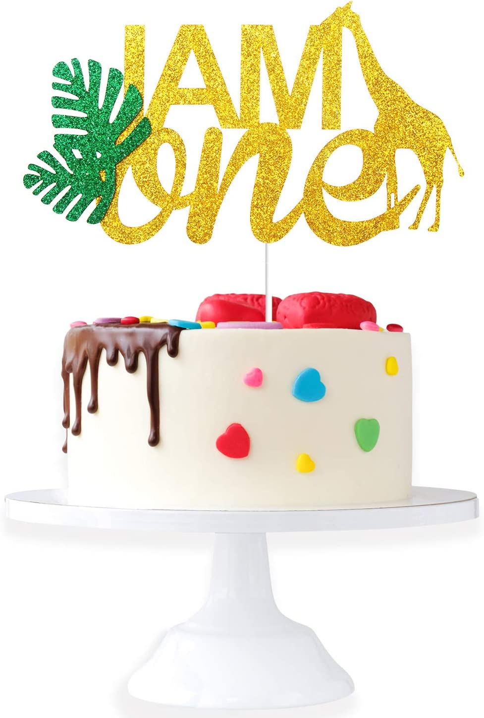 I AM ONE Birthday Cake Topper - Real Wild Child First Birthday - Smash Jungle Safari Animals Gifaffe Cake Décor - Baby Shower Welcome Baby Party Decoration