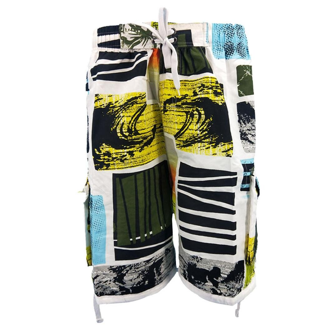 Challyhope Mens Printed Boardshorts Quick Dry Beach Swim Trunks Shorts Casual Pants