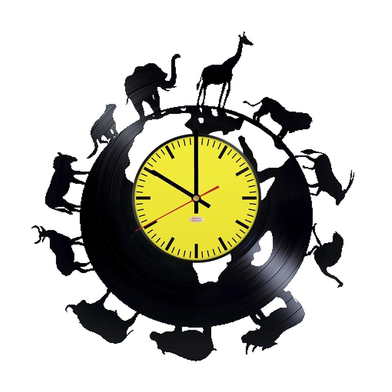 RomanticStuffStore African Animals Vinyl Record Wall Clock - Get Unique Garage or Office Room Wall Decor - Gift Ideas for Men and Women – Interior Vintage Unique Modern Art