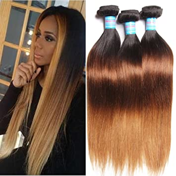 Brilliant Amazon Com Klaiyi Hair Brazilian Ombre Virgin Straight Hair 3 Hairstyles For Women Draintrainus