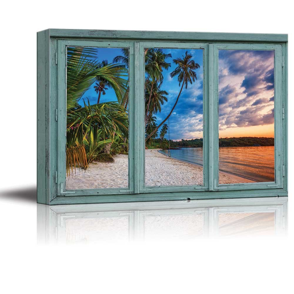 wall26 Gorgeous sunset on a tropical island beach vacation - Canvas ...