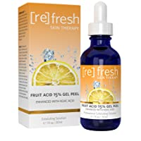 Refresh Skin Therapy Fruit Acid Chemical Peel with Kojic Acid 15% - Lactic Acid, Glycolic Acid Natural Facial Gel Peel , 1 ounce