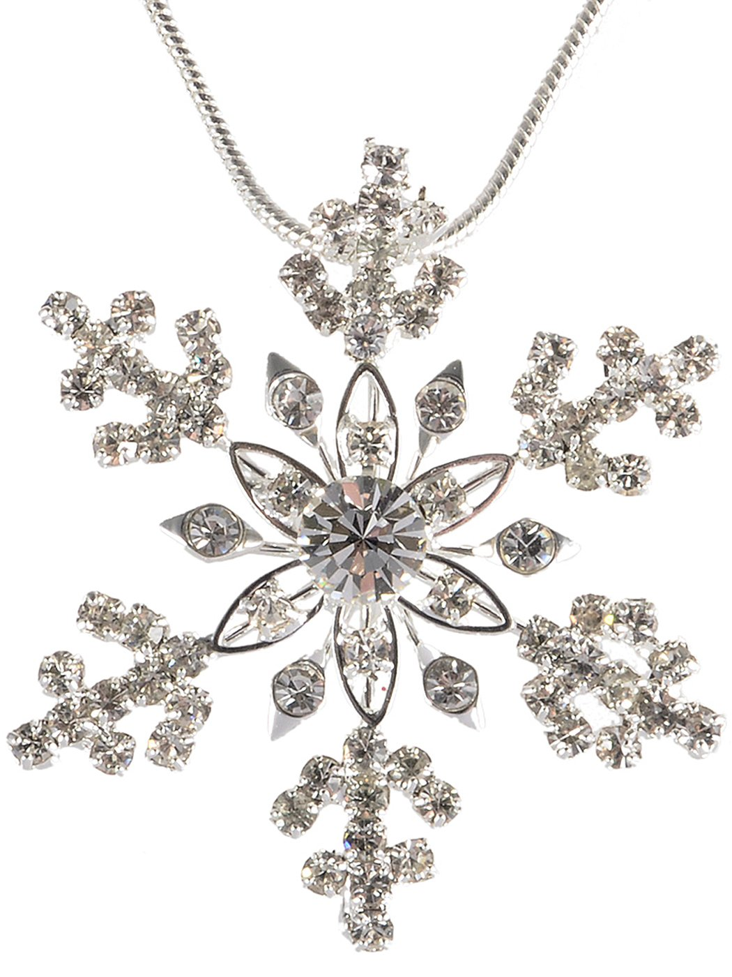 Alilang Silvery Tone Crystal Clear Colored Rhinestones Snowlake Winter Chain Necklace Pendant