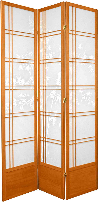 Oriental Furniture 7 ft. Tall Bamboo Tree Shoji Screen - Honey - 3 Panels