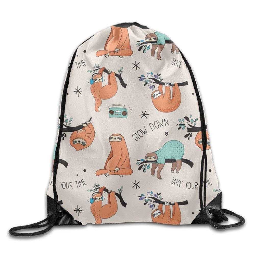 GOODBAG Foldable Sackpack Vintage Lovely Sloth Bag