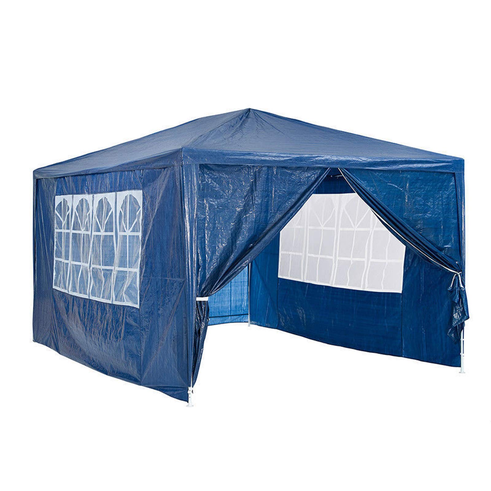 NEW Garden Heavy Duty 130g PE Gazebo Marquee Party Tent Canopy Outsides Garden Camping Beach Wedding Folding Gazebo Canopy Full Cover 4 Side Panels 3x3M Easy to Assemble Blue