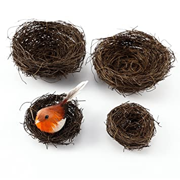 4pcs Natural Vine Bird Nest Home Garden Craft Gift Floral Decoration Easter