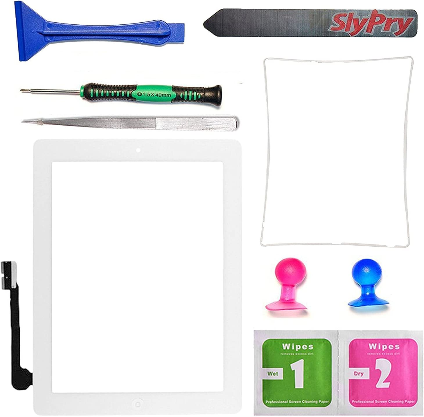 Prokit Adhesive New White iPad 3 Digitizer Touch Screen Front Glass Assembly - Includes Home Button + Camera Holder + PreInstalled Adhesive with SlyPry Tools kit