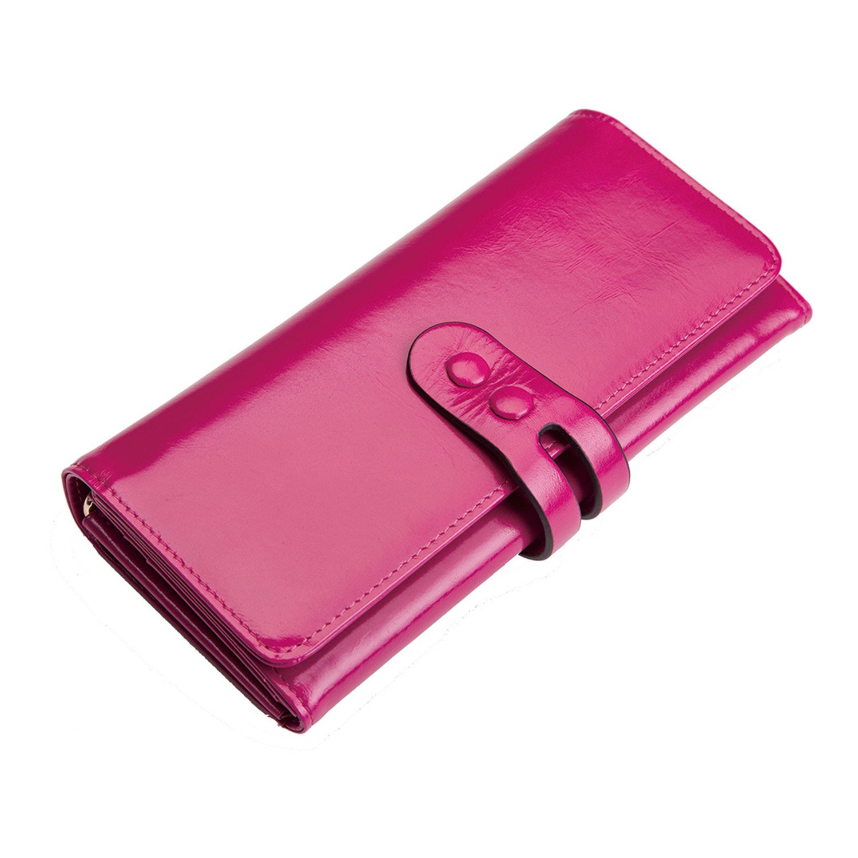 donword女性用財布三つ折りレディース高級レザーロング財布for Ladies B0713N2GB4  ローズレッド