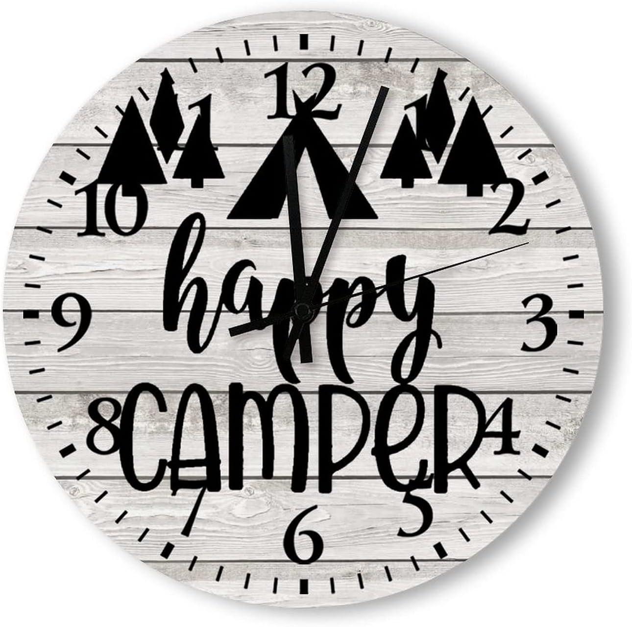 Wood Clock Happy Camper Vintage Wall Clock Design Wooden Round Indoor Clocks