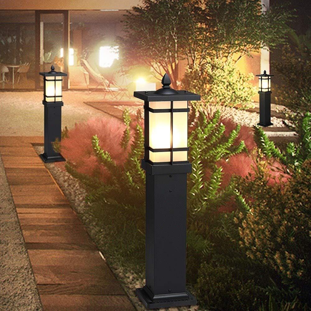 HEJY Outdoor Garten Spalte Licht 70CM Schwarz-Gussaluminium Hohe Pole Glas Laterne for Community Park Hof Au/ßen Garden Villa Antique Beitrag Lampe