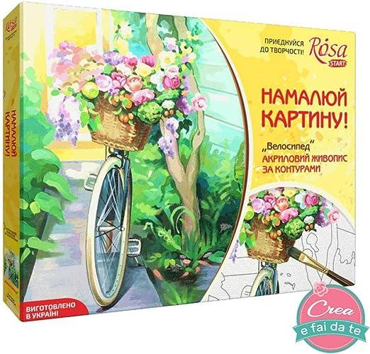 Rosa Start Kit, DIY, pintar cuadros con contornos, bicicleta, tamaño 35 x 45 cm, para pintura sobre lienzo colores acrílicos.: Amazon.es: Hogar