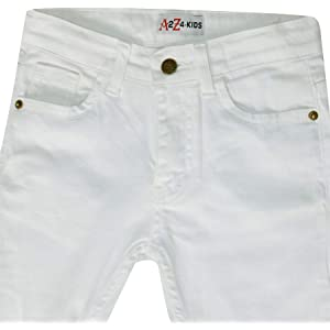 1c334309 A2Z 4 Kids Kids Boys Stretchy Jeans Designer's White Ripped Denim Skinny  Pants Fit Trousers New