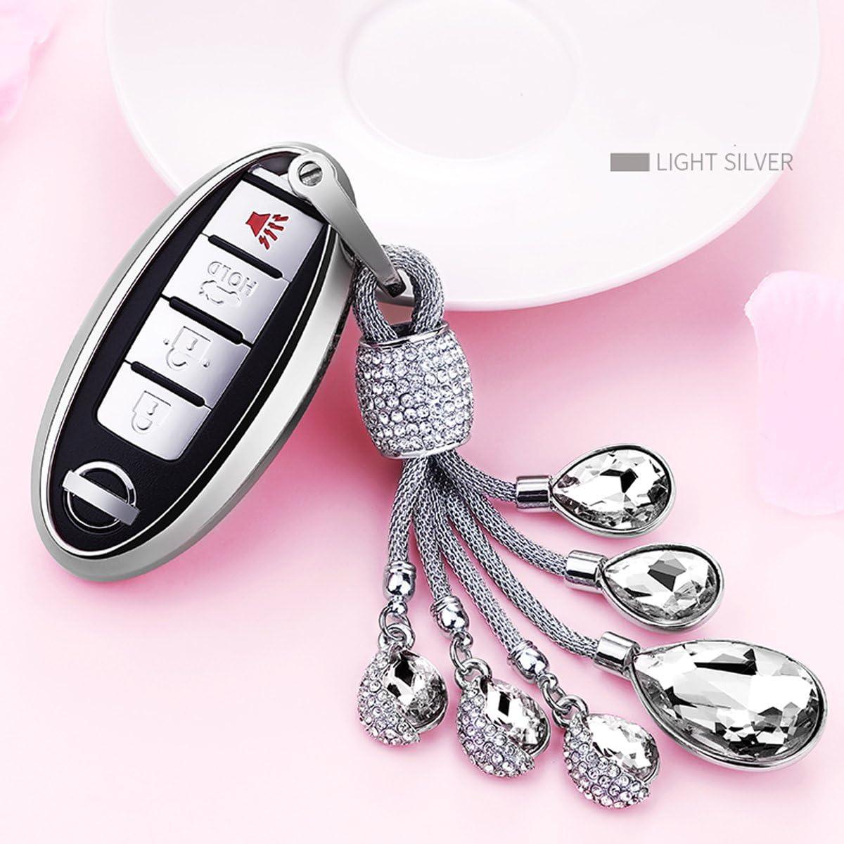 Nissan Murano Key Ring Pink and Chrome Diamond Bling Keychain